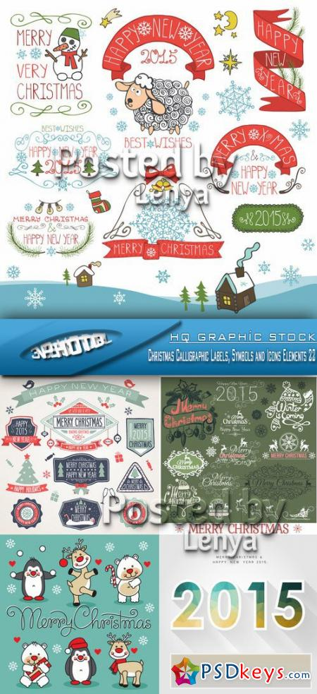 Stock Vector - Christmas Calligraphic Labels, Symbols and Icons Elements 22
