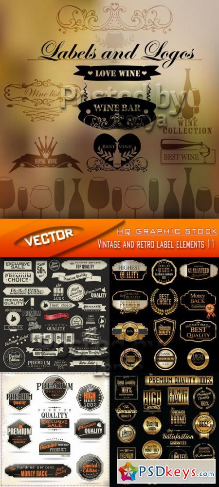 Stock Vector - Vintage and retro label elements 11