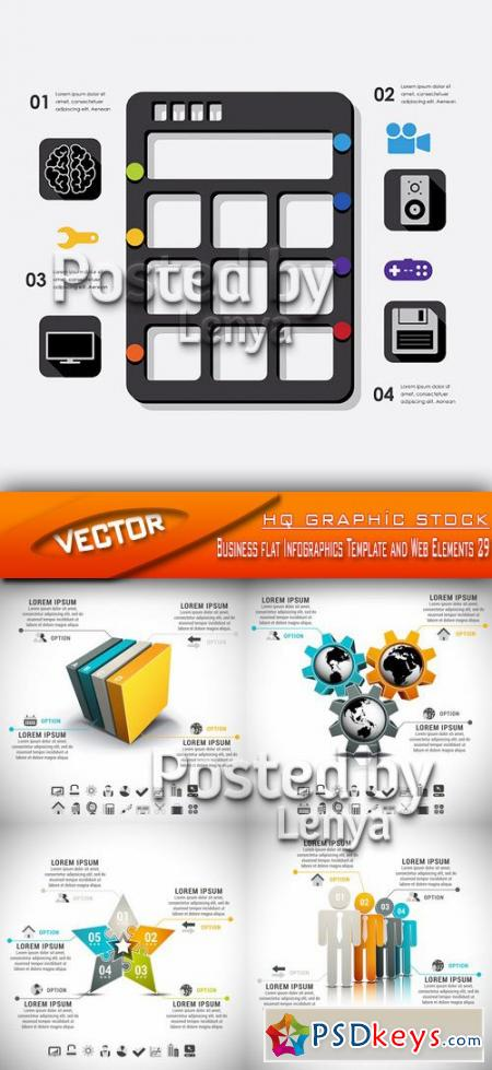 Stock Vector - Business flat Infographics Template and Web Elements 29