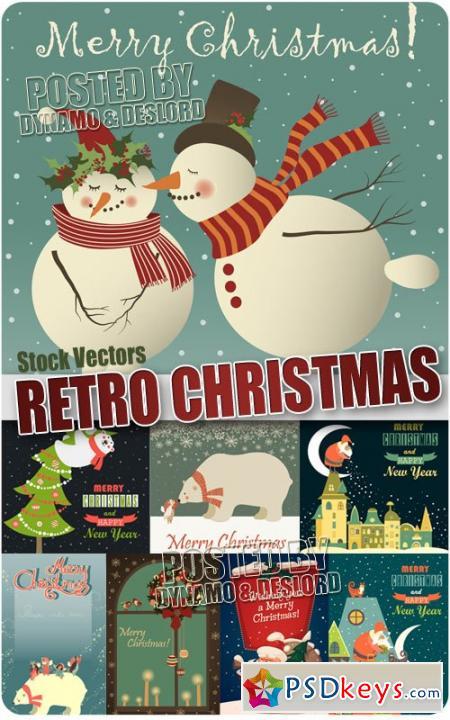 Retro xmas card - Stock Vectors