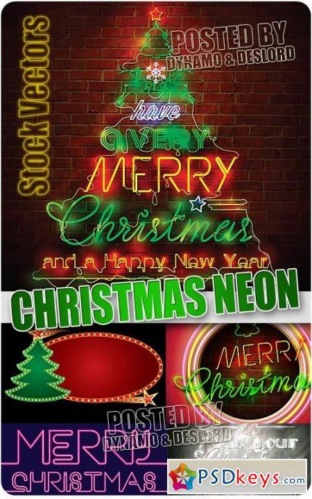 Christmas neon - Stock Vectors
