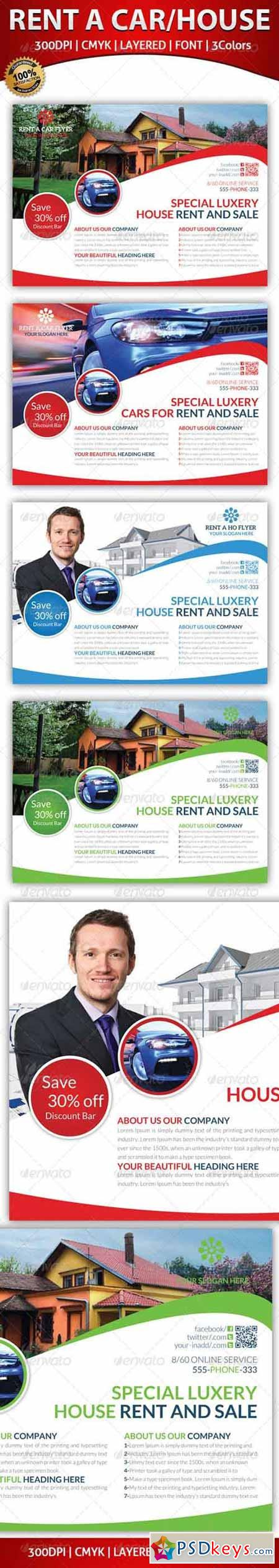 Rent A House And Car Flyer Template 5934293