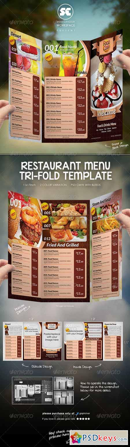 tri fold restaurant menu template 5735353 free download photoshop vector stock image via. Black Bedroom Furniture Sets. Home Design Ideas