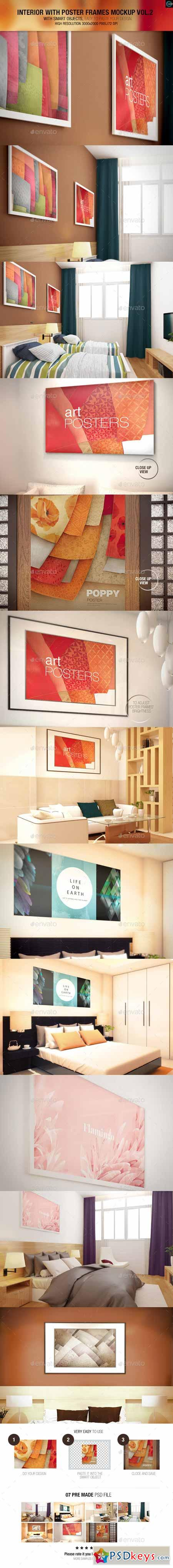 Interior With Poster Frames Mock-up Vol.2 9854757