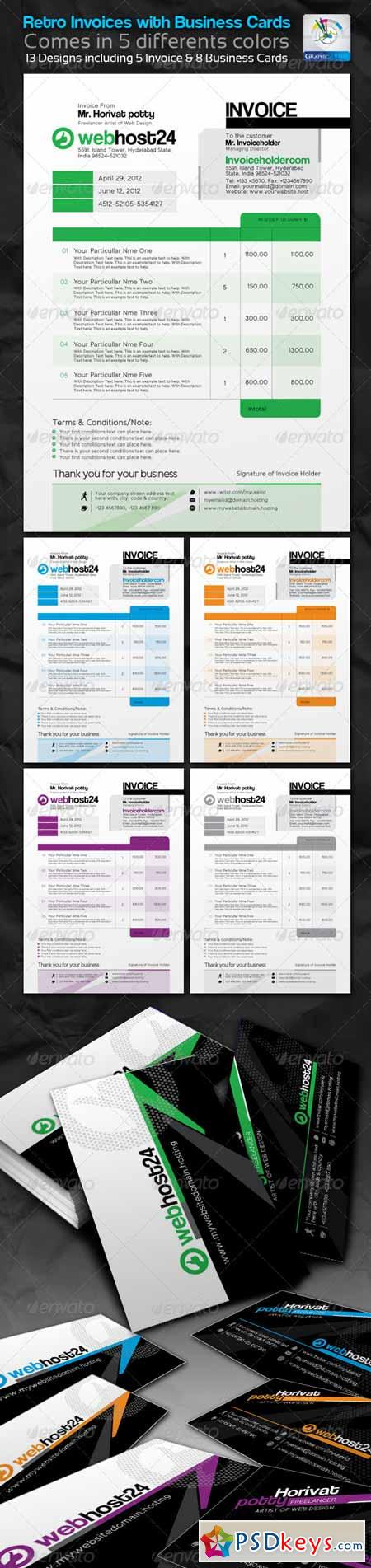 Retro Invoices with Business cards 2344182