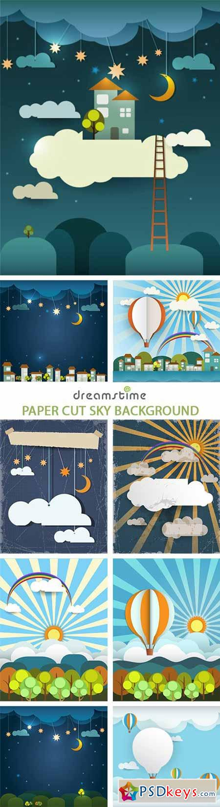 Paper Cut Sky Background - 25xEPS