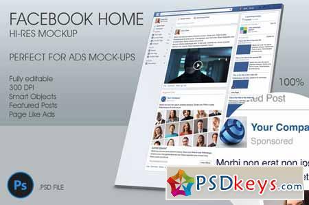 Facebook Home Hi-Res Mockup 32260 » Free Download Photoshop