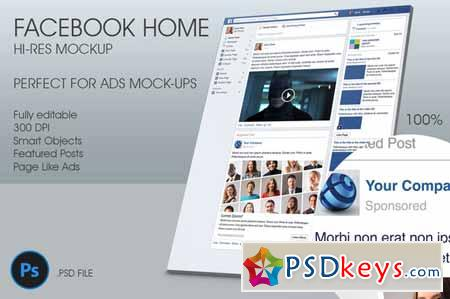 Facebook Home Hi-Res Mockup 32260 » Free Download Photoshop Vector