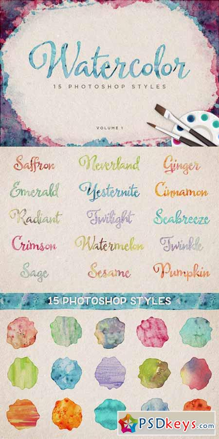 Watercolor Photoshop Styles Volume 1 154031