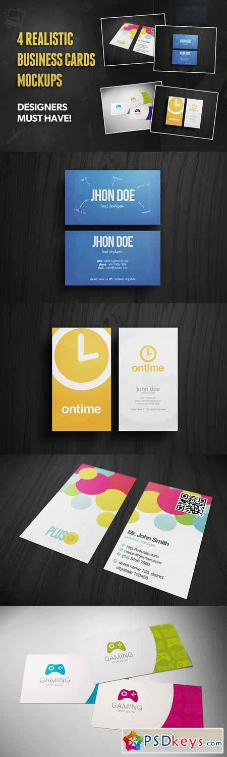 4 Realistic Business Card Mockups 154061