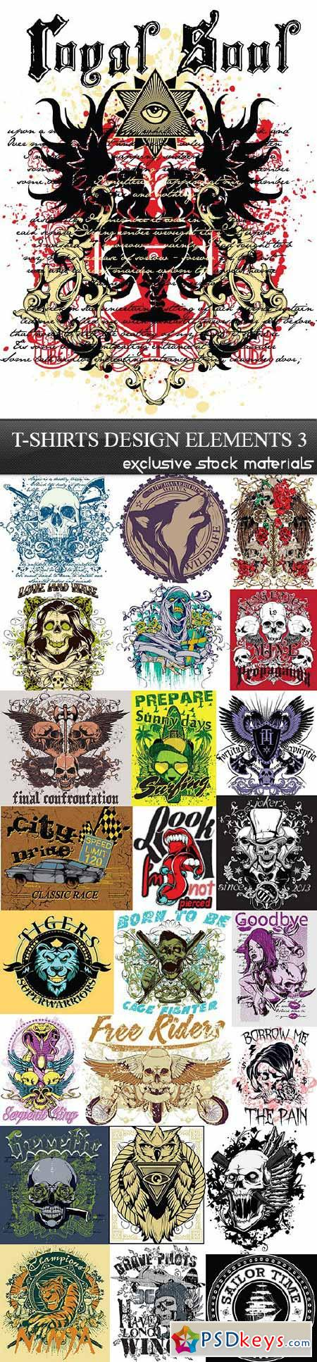 Shirt design eps - T Shirts Design Elements 3 25xeps