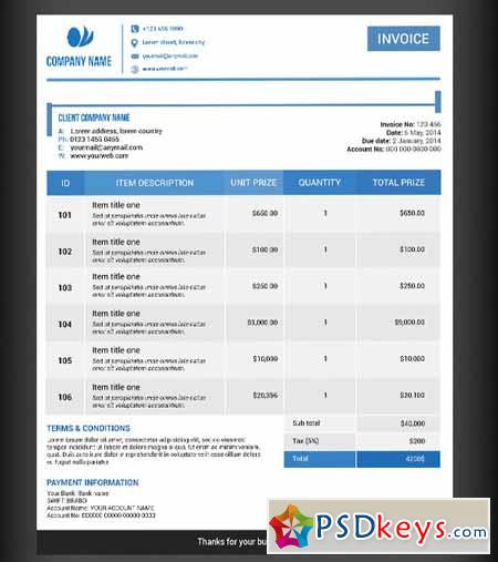 invoice template 74614 a free download photoshop vector stock