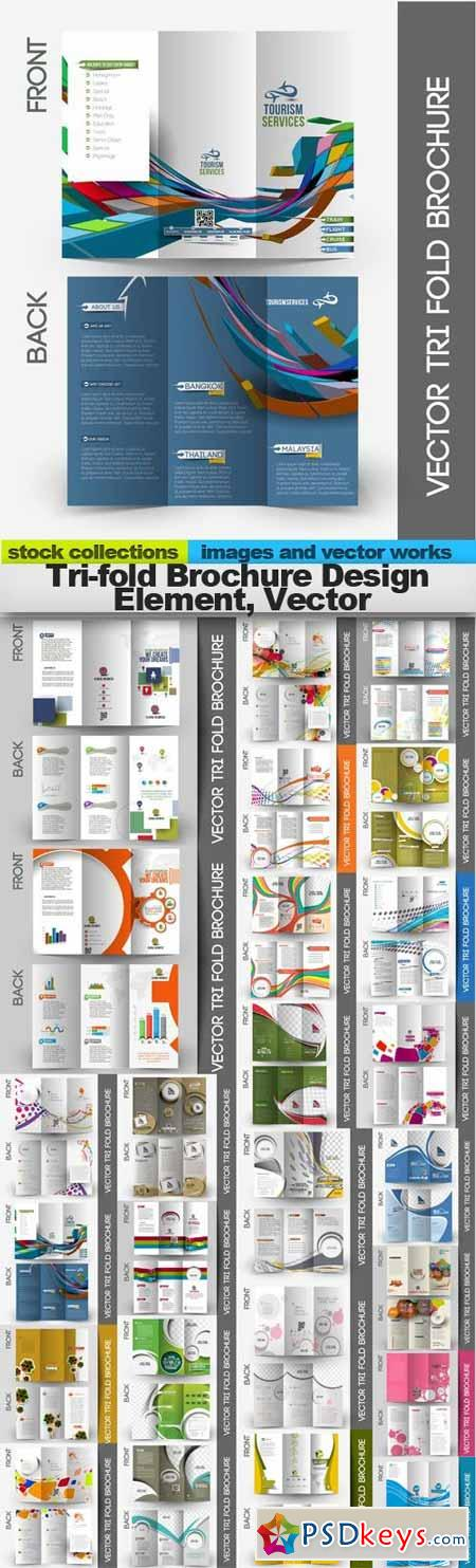 Tri-fold Brochure Design Element, Vector,25 x EPS