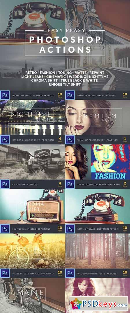 Easy Peasy Photoshop Actions – 71 Super Premium Actions