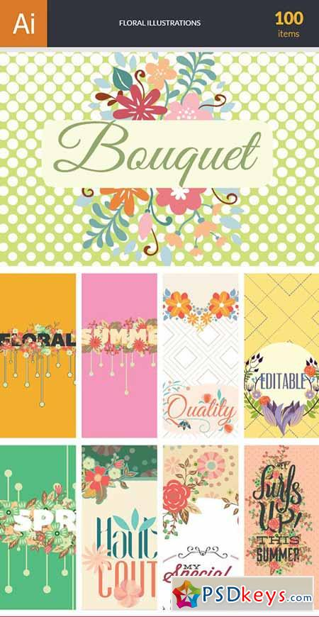 Floral Vector Bundle 100xEPS