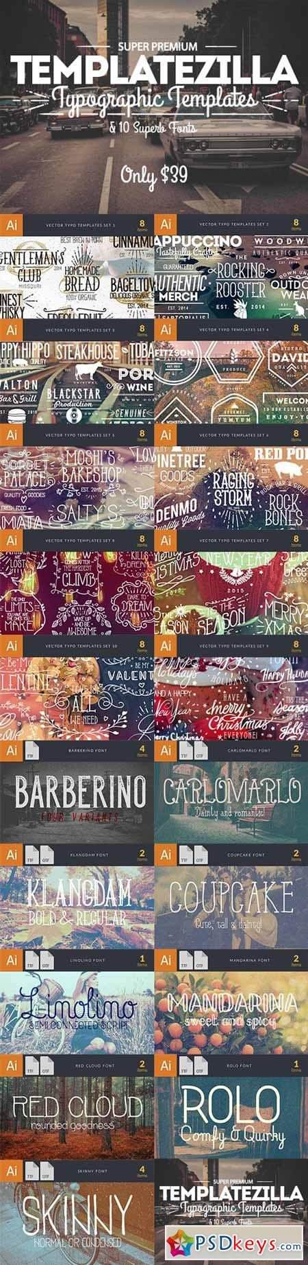 TemplateZilla Super Premium Typographic Templates & 10 Superb Fonts