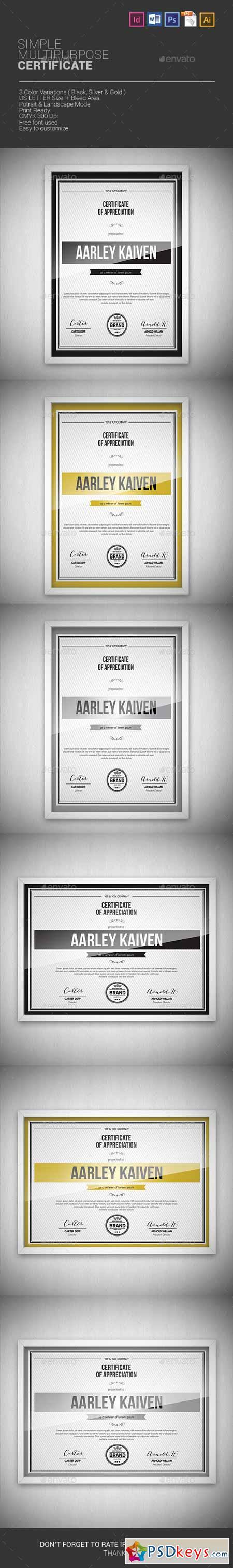 Simple Multipurpose Certificates 7172885
