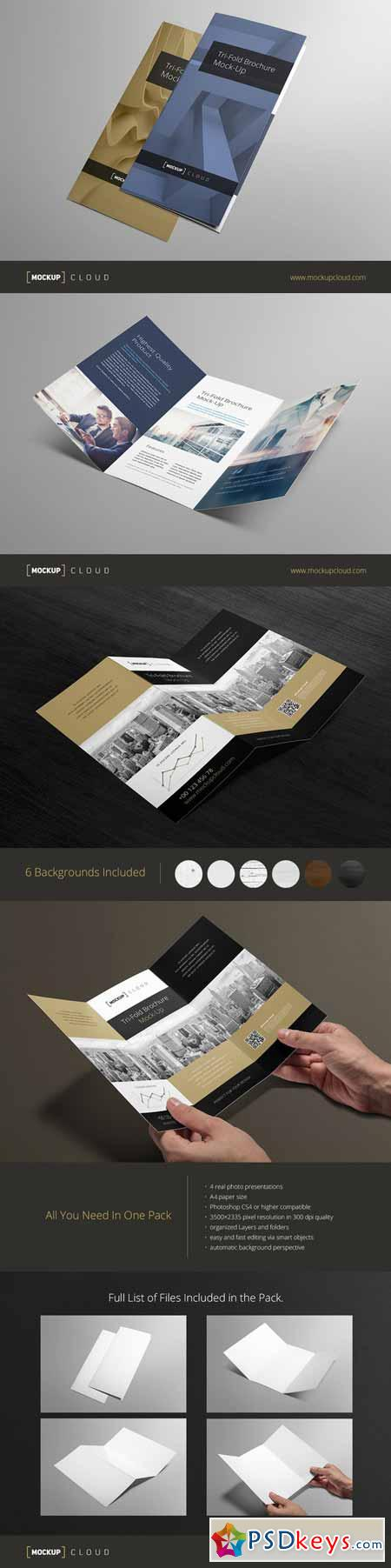 Tri-fold Brochure Mock-Up 164344