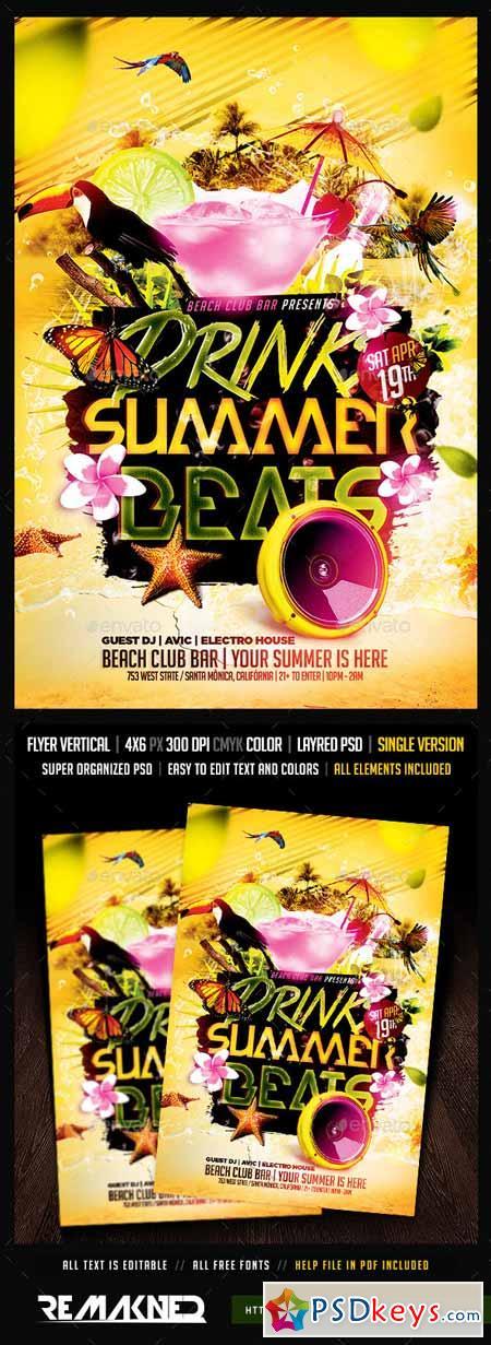Drinks Summer Beats Flyer Template PSD 10191913