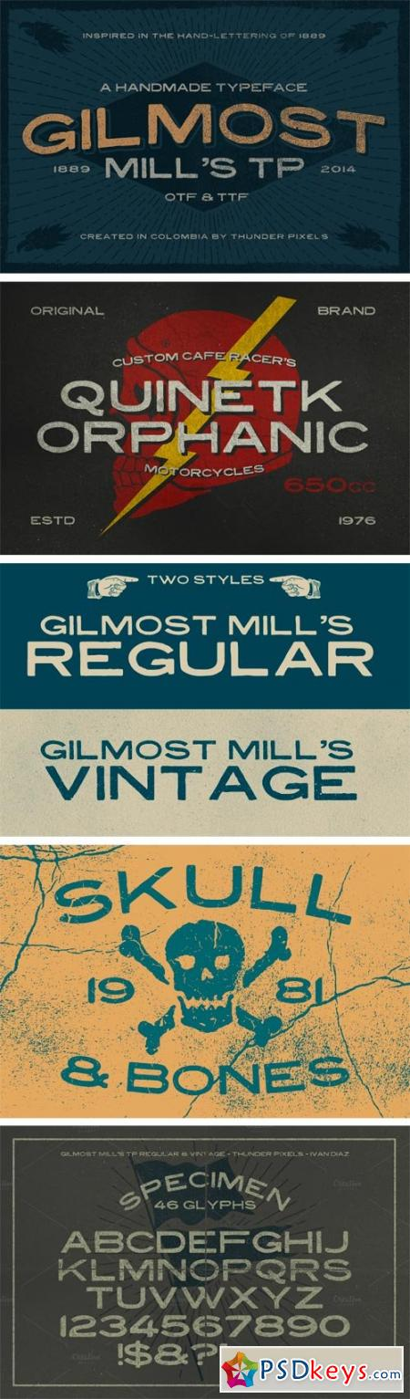 Gilmost Mill's TP Font Family - 2 Fonts $12