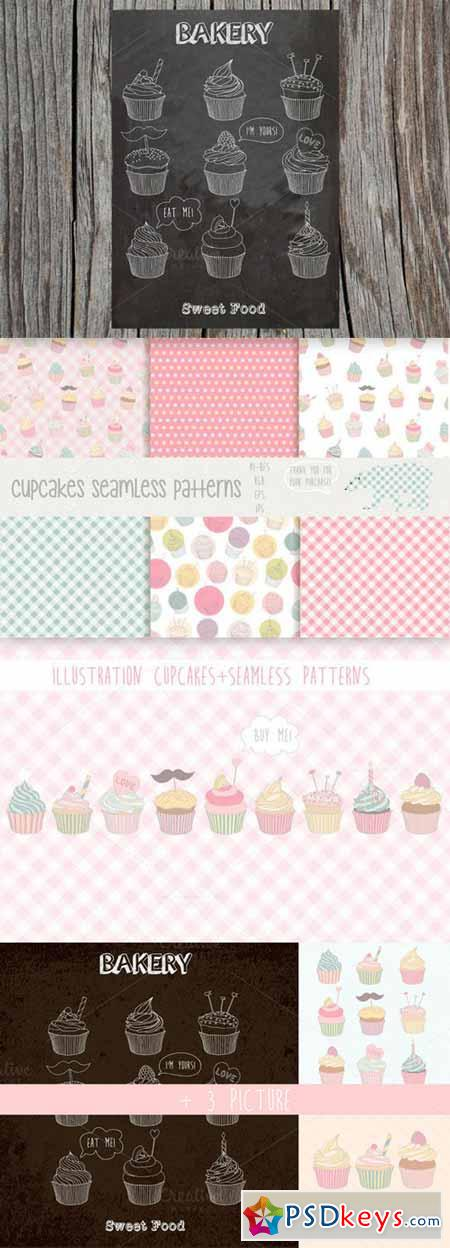 Cupcakes patterns and illustration 75050