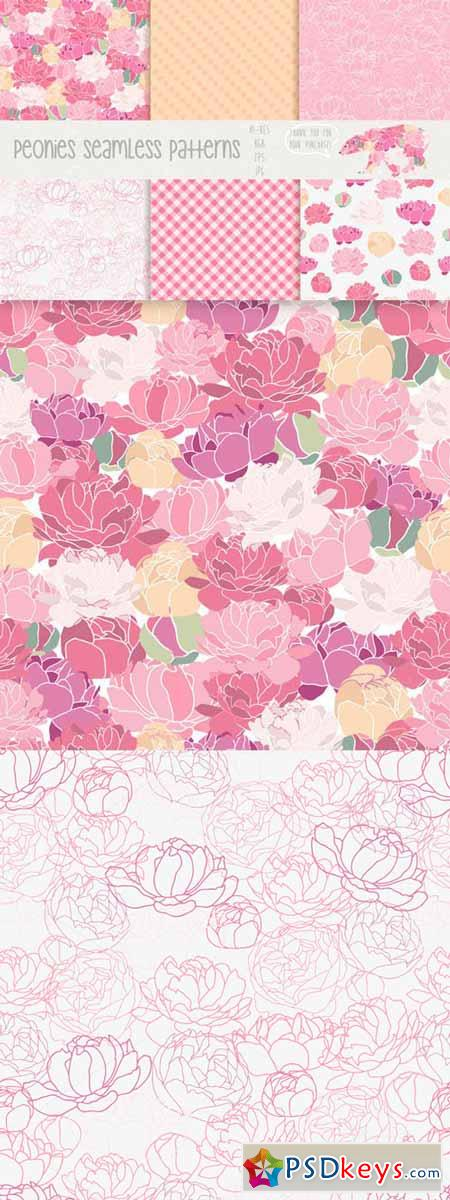 Peonies seamless patterns 62795