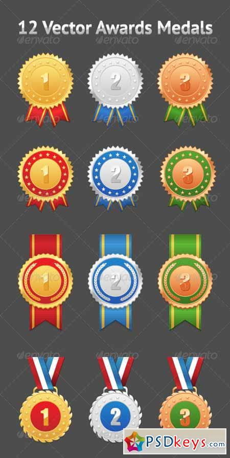 Set of 12 Vector Awards Medals 1797404