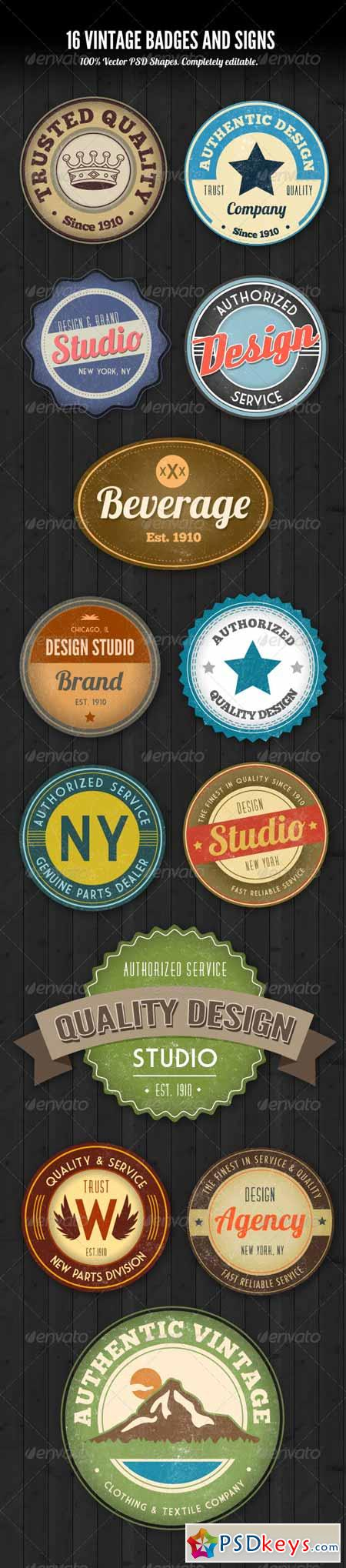 PSD Vintage Style Badges and Logos 2409331