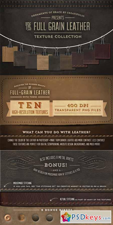 Full-Grain Leather Textures - PNGs 6319