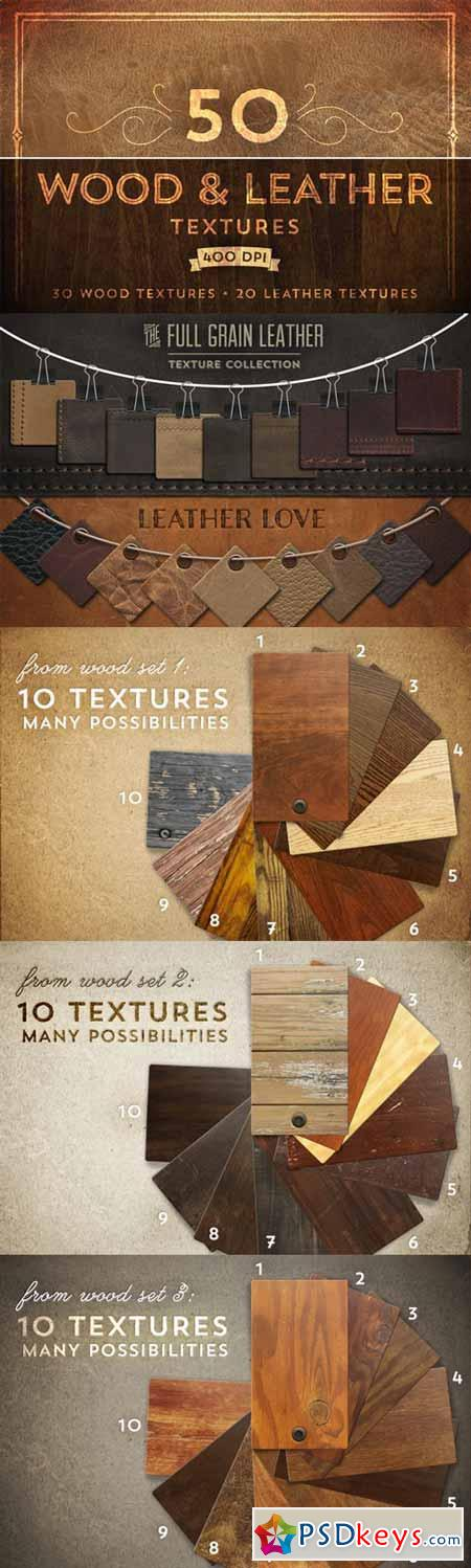 50 Wood & Leather Textures 22188