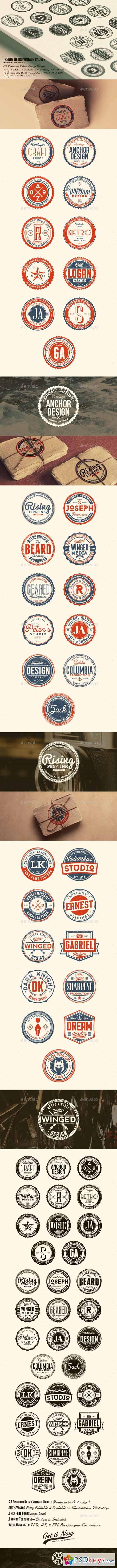 33 Trendy Retro Vintage Badges Bundle Volume 1 7641584