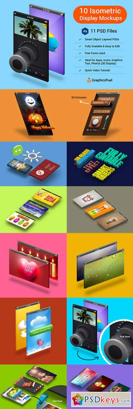 Isometric 3D Display Mockups 13460