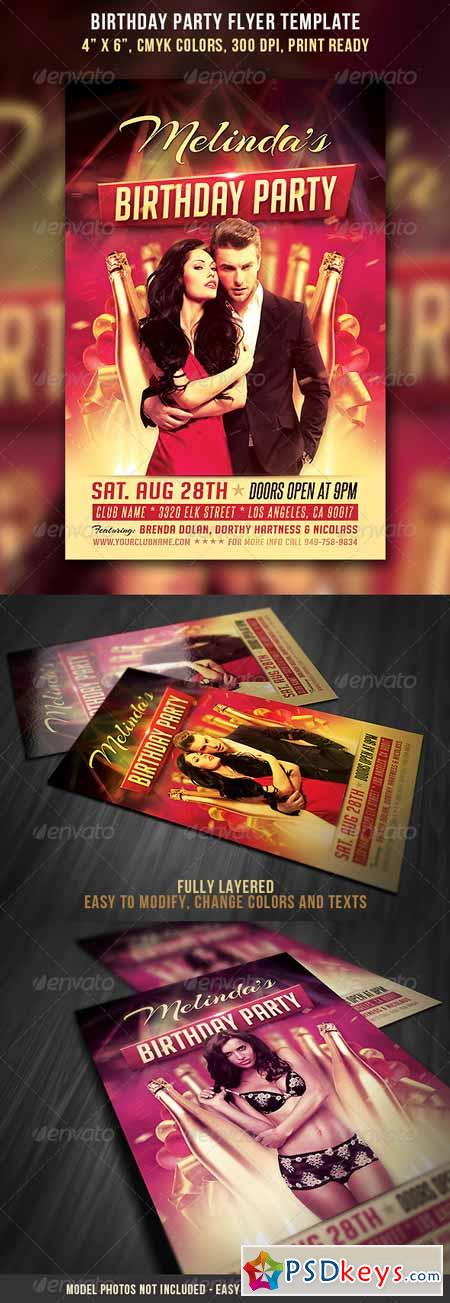 Birthday Party Flyer Template   Free Download Photoshop