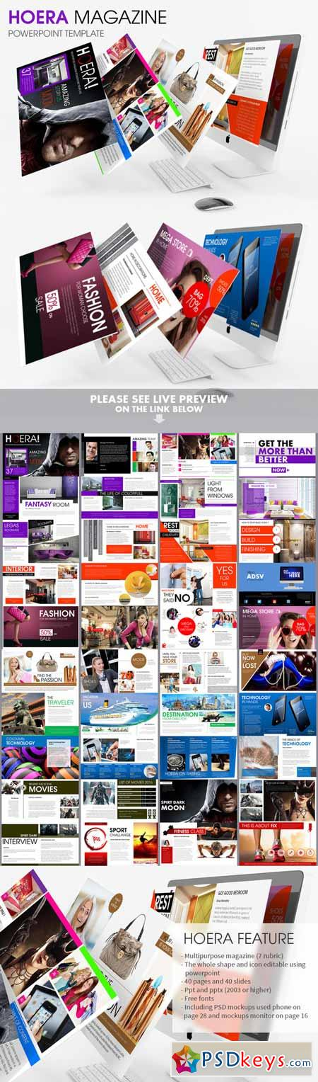 hoera magazine  powerpoint template  » free download, Powerpoint
