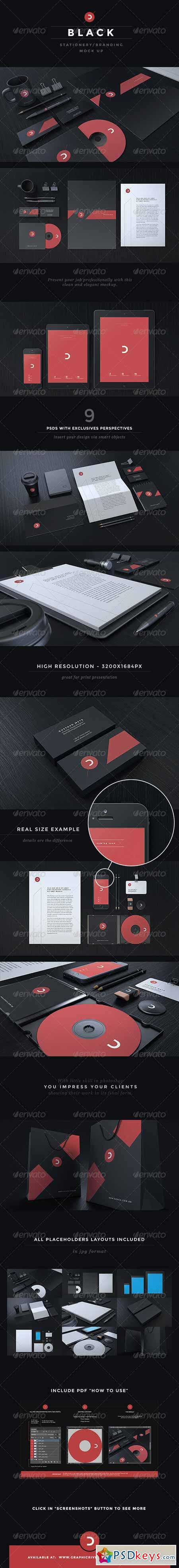 Black Stationery Branding Mock-Up 5749910 » Free Download
