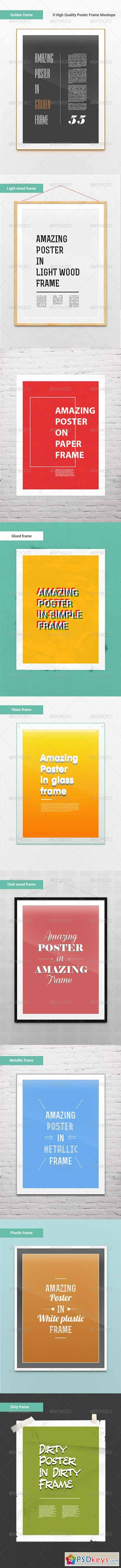 9 High Quality Picture Poster Frame Mock-Ups 5672634