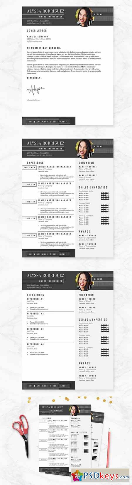 Black & White Resume Template Pkg