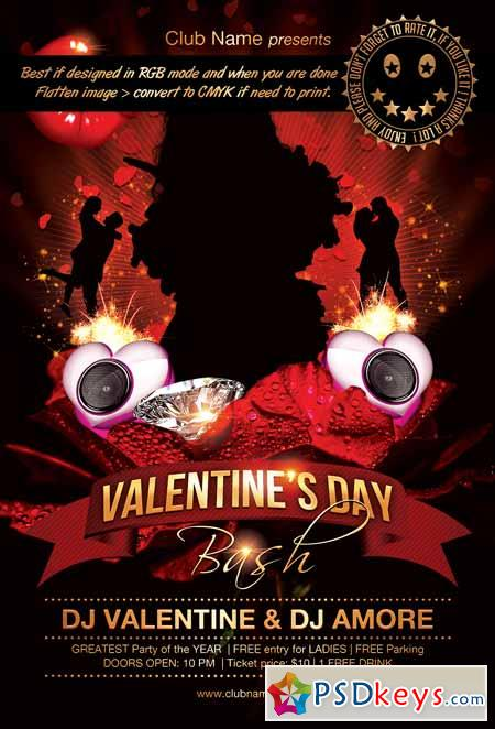 Valentines day bash flyer template 10024831
