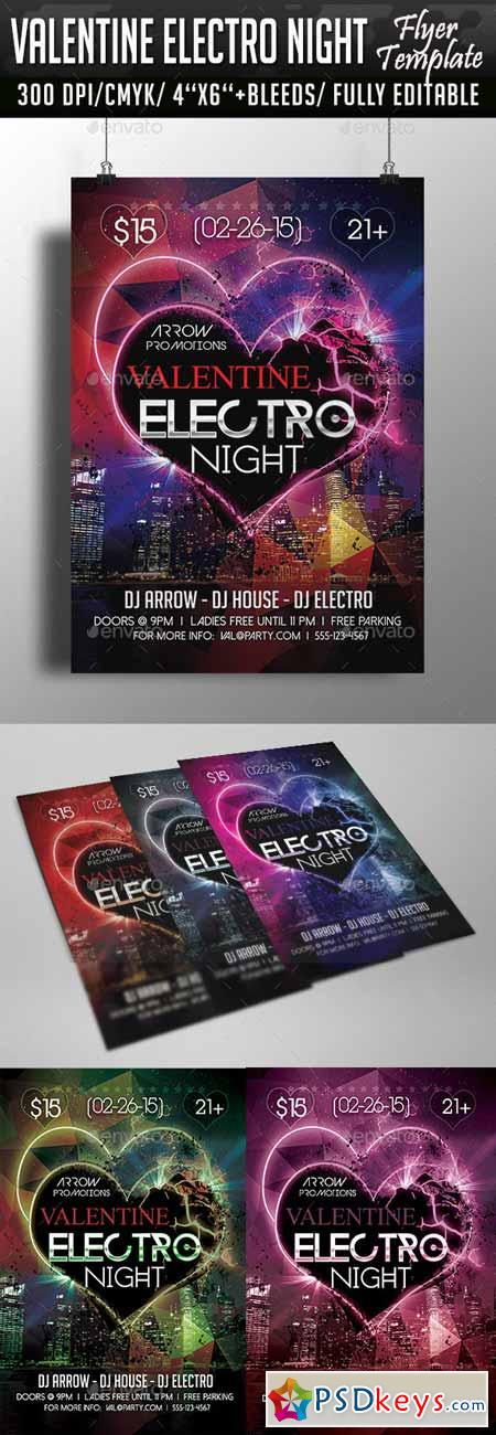 Valentine Electro Night Flyer Template 10286901