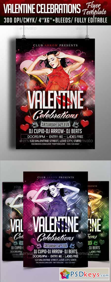 Valentine Celebrations Flyer Template 10089958