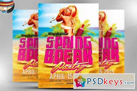 3d Spring Break Flyer Template 182008 Free Download Photoshop