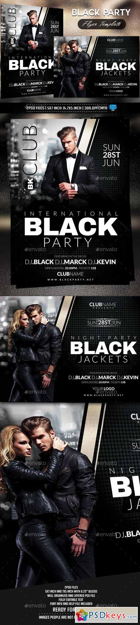 Black Party Flyer Template 10428223