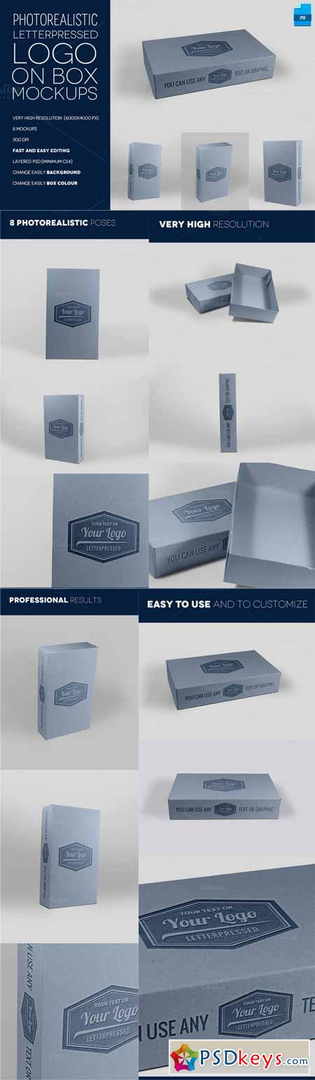 Letterpress Logo on Box - 8 Mockups 192427