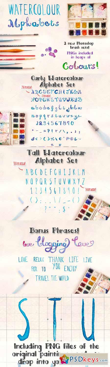 2 Watercolour Alphabet Brush Sets 193392
