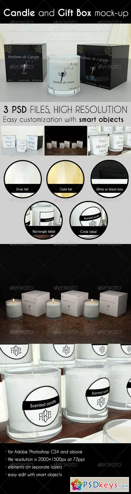 Candle and Gift Box Mock-Up 7244792