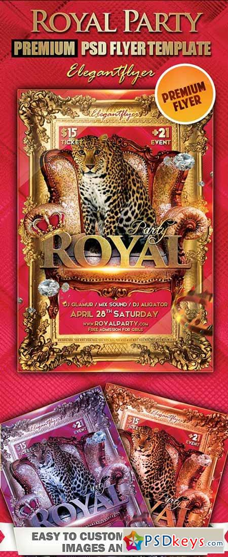 Royal Party Premium Club flyer PSD Template