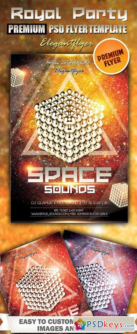 Space Sounds Premium Club flyer PSD Template