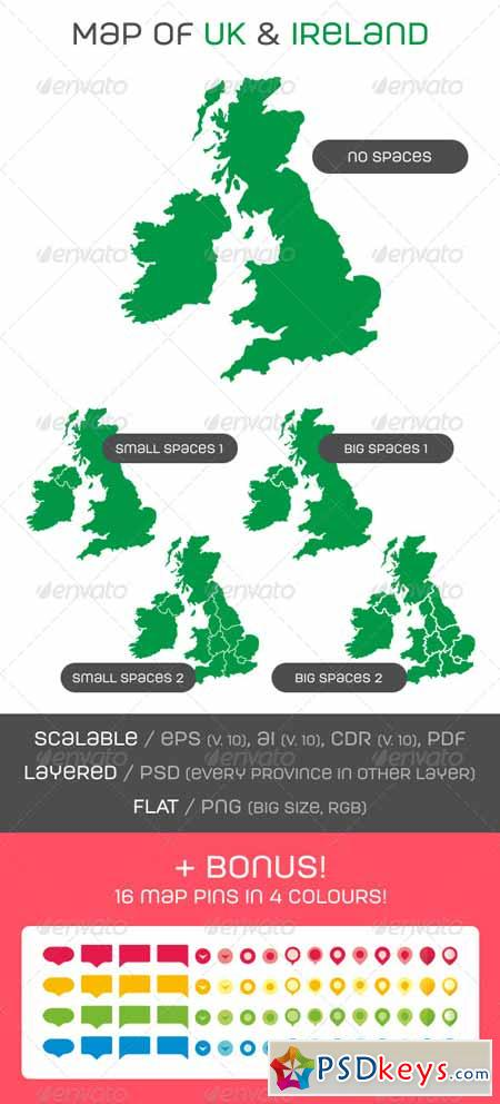 Map of UK and Ireland with Map Pins 7013270