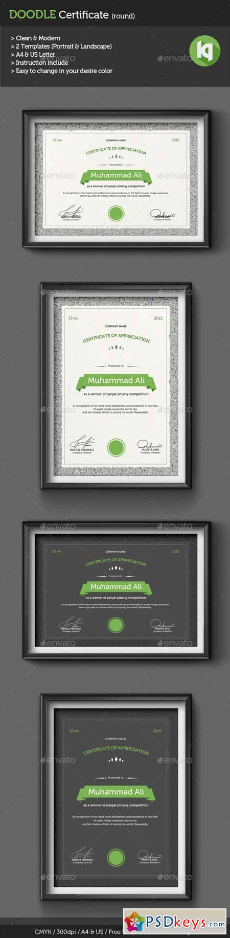 Doodle Certificate Template (round) 10440766