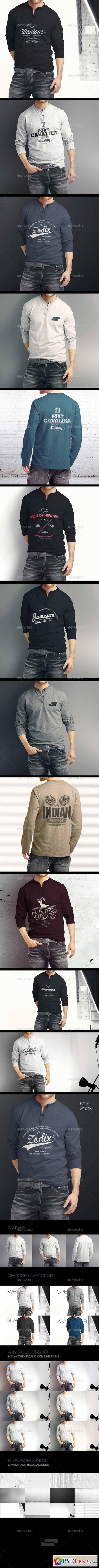 Man Longsleeve Shirt Mock-up 9610861